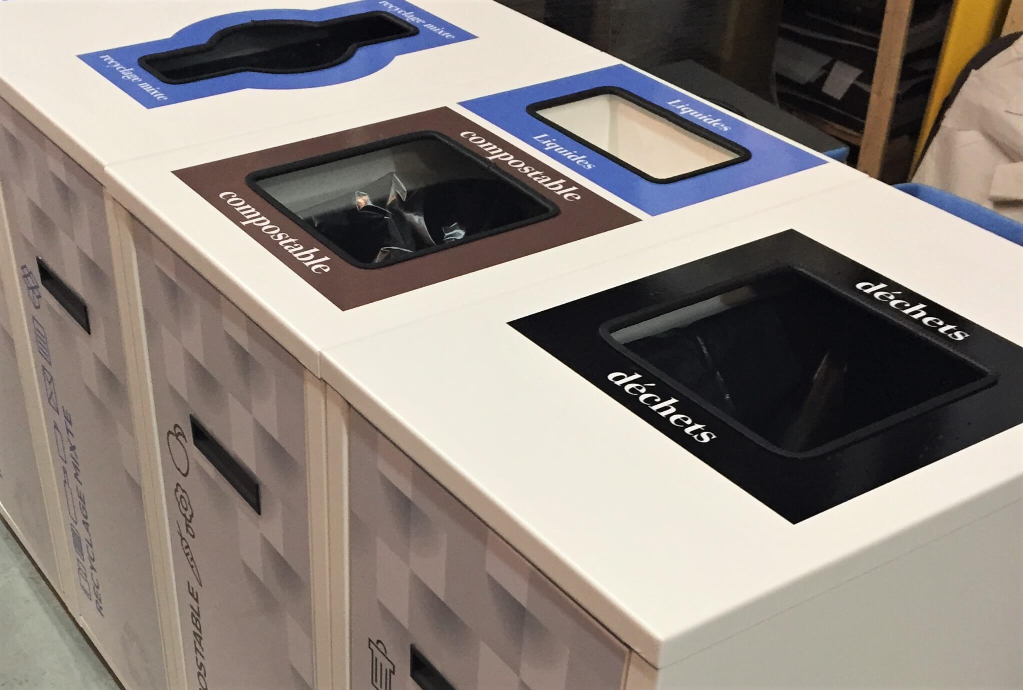 Îlot de tri avec récupération des compostables