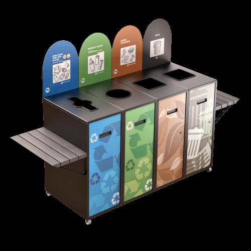Poubelle de tri sélectif Multiplus 4 voies 87L avec tablettes NI Produits