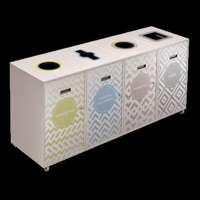 NI Produits - Bac à tri sélectif Lounge Blanc 120L 4 voies