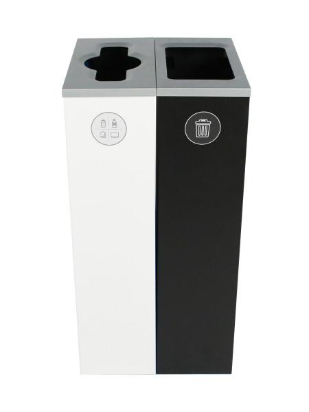 NI Produits - Compartiment de tri Blanc et Noir Spectrum Cube Slim 2 voies avec ouverture Pêle-Mêle et Pleine