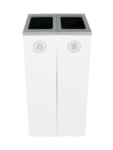 NI Produits - Compartiment de tri Blanc Spectrum Cube Slim 2 voies avec ouverture Pleine