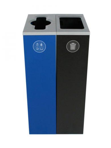 NI Produits - Compartiment de tri Bleu et Noir Spectrum Cube Slim 2 voies avec ouverture Pêle-Mêle et Plein