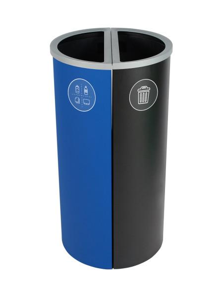 NI Produits - Corbeille Bleue et Noire de tri pour la récupération Spectrum Ellipse Slim 2 voies avec ouvertures Pleines