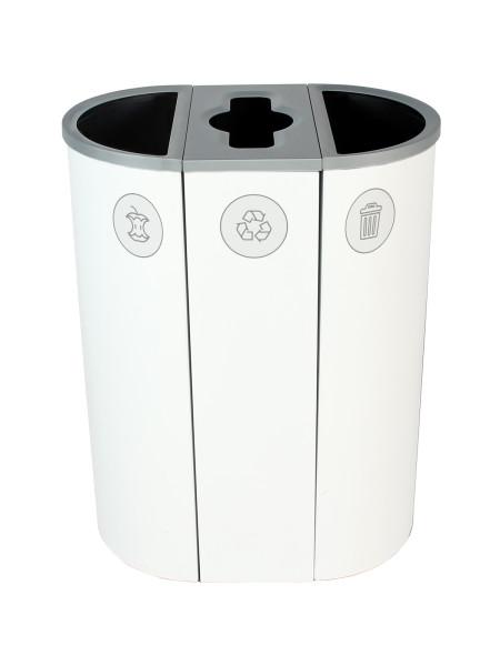 NI Produits - Corbeille Blanche de tri pour la Récupération Spectrum Ellipse Slim à 3 voies avec ouvertures Plein, Pêle-Mêle, Plein