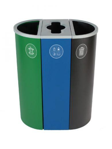 NI Produits - Corbeille Verte, Bleue et Noire de tri pour la Récupération Spectrum Ellipse Slim à 3 voies avec ouvertures Plein, Pêle-Mêle, Plein