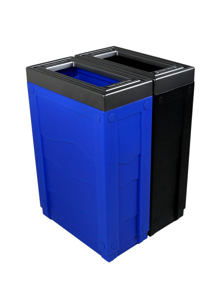 NI Produits - Corbeille Bleue et Noire de tri sélectif Evolve Cube Slim 2 voies
