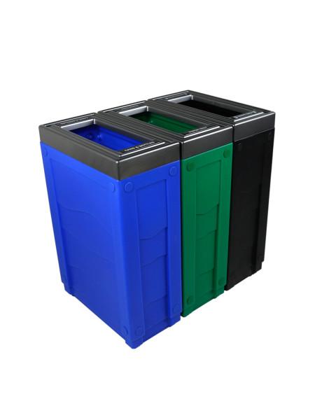 NI Produits - Corbeilles Bleue, Verte et Noire de tri sélectif Evolve Cube Slim 3 voies