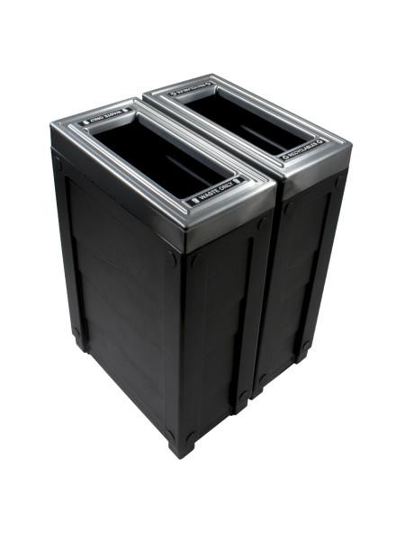 NI Produits - Corbeille Noire de tri sélectif Evolve Cube Slim 2 voies