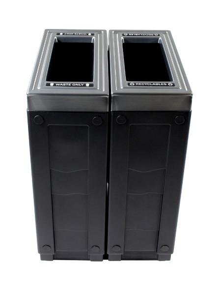NI Produits - Corbeille Noire de tri sélectif Evolve Cube Slim 2 voies 2