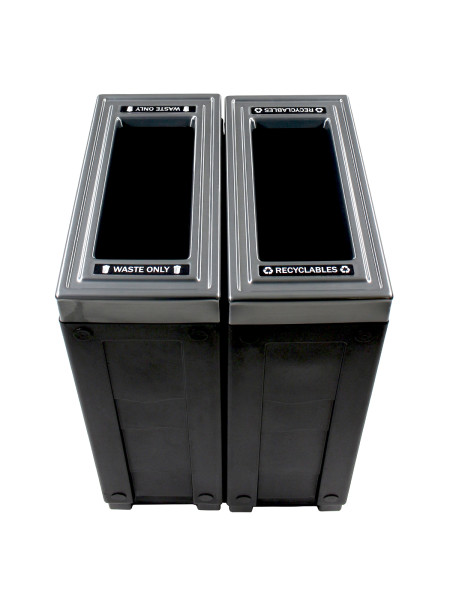 NI Produits - Corbeille Noire de tri sélectif Evolve Cube Slim 2 voies 3
