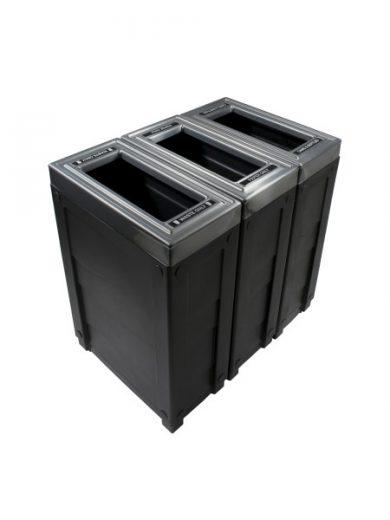 NI Produits - Corbeille Noire de tri sélectif Evolve Cube Slim 3 voies
