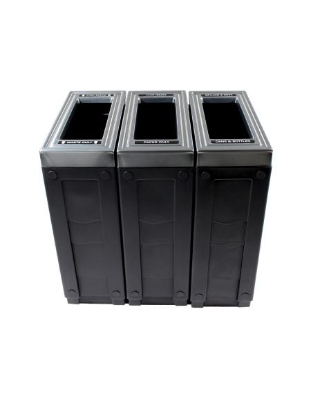 NI Produits - Corbeille Noire de tri sélectif Evolve Cube Slim 3 voies 2