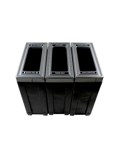 NI Produits - Corbeille Noire de tri sélectif Evolve Cube Slim 3 voies 3