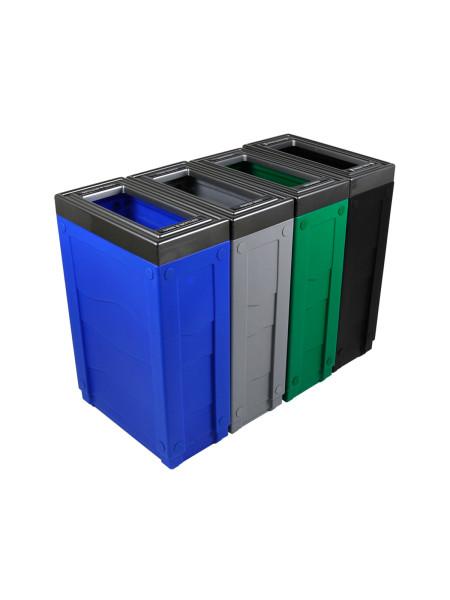 NI Produits - Corbeille de tri sélectif Evolve Cube Slim 4 voies