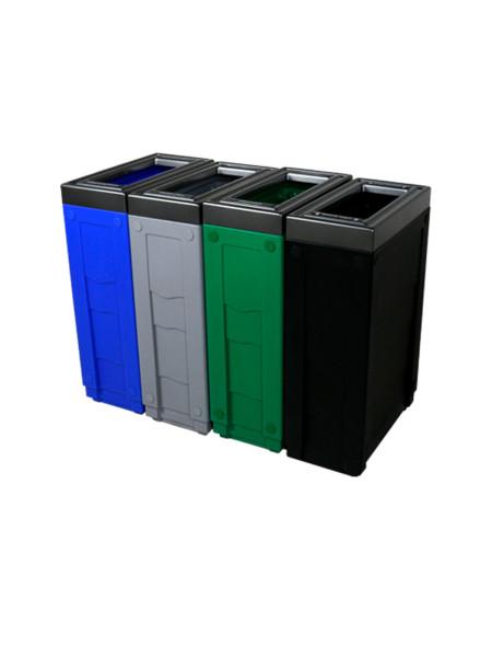 NI Produits - Corbeille de tri sélectif Evolve Cube Slim 4 voies 3