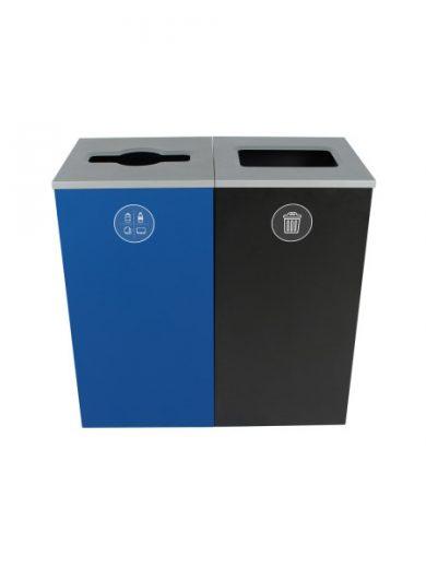 NI Produits - Poubelles Bleue et Noire Spectrum Cube 2 voies avec ouverture Pêle-Mêle et Plein