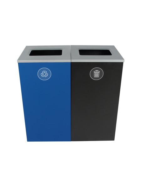 NI Produits - Poubelles Bleue et Noire Spectrum Cube 2 voies avec ouverture Plein