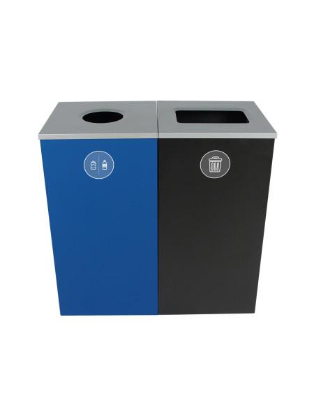 NI Produits - Poubelles Bleue et Noire Spectrum Cube 2 voies avec ouverture Ronde et Plein