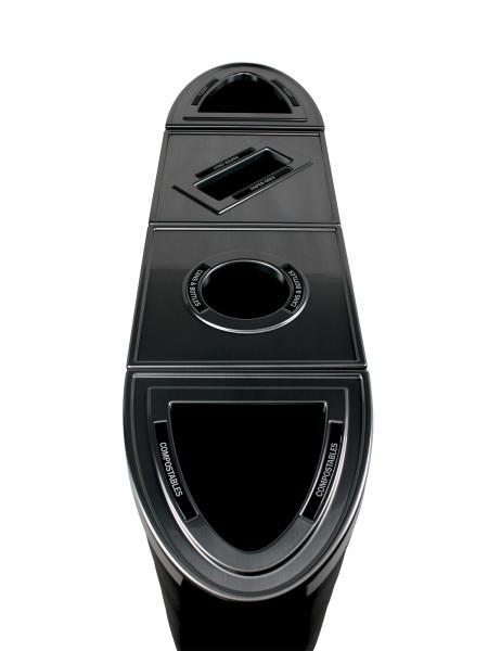 NI Produits - Poubelle noire de tri sélectif Evolve Ellipse Quadruple Plein Rond Fente Plein 3