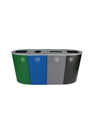 NI Produits - Poubelle Verte, Bleue, Grise et Noire de Tri Sélectif Spectrum Ellipse 4 voies avec ouvertures Pleine, Ronde, Fente et Pleine