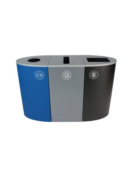 NI Produits - Poubelle Bleue, Grise et Noire de tri Sélectif Spectrum Ellipse 3 voies avec ouvertures Rond, Fente et Plein