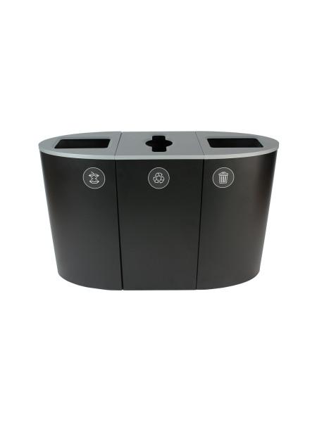 NI Produits - Poubelle Noire de tri Sélectif Spectrum Ellipse 3 voies avec ouvertures Plein, Pêle-Mêle et Plein