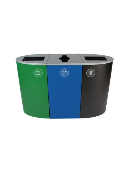 NI Produits - Poubelle Verte, Bleue et Noire de tri Sélectif Spectrum Ellipse 3 voies avec ouvertures Plein, Pêle-Mêle et Plein