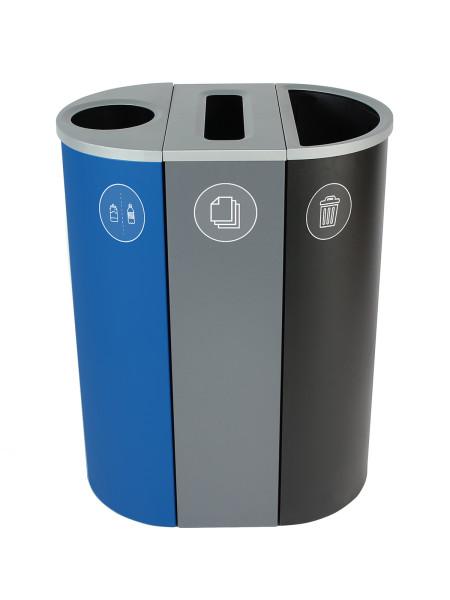 NI Produits - Corbeille Bleue, Grise et Noire de tri pour la Récupération Spectrum Ellipse Slim à 3 voies avec ouvertures Rond, Fente, Plein