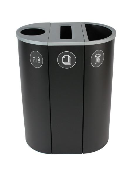 NI Produits - Corbeille Noire de tri pour la Récupération Spectrum Ellipse Slim à 3 voies avec ouvertures Rond, Fente, Plein