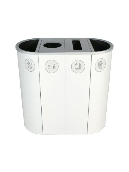 NI Produits - Corbeille Blanche de Tri pour la Récupération Spectrum Ellipse Slim à 4 voies avec ouvertures Pleine, Ronde, Pleine et Pleine