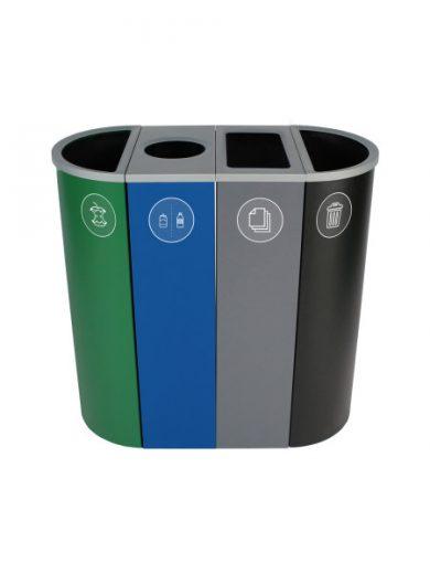 NI Produits - Corbeille Verte, Bleue, Grise et Noire de Tri pour la Récupération Spectrum Ellipse Slim à 4 voies avec ouvertures Pleine, Ronde, Pleine et Pleine